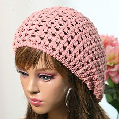 Summer Beanie Hat Crochet Pattern : P30 Summer Knitted Crochet Checked Beret Beanie Hat Cap ...