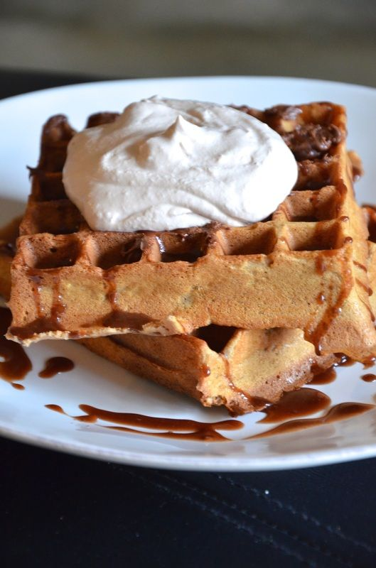 CHOCOLATE HAZELNUT BEER WAFFLES WITH NUTELLA COFFEE WHIPPED CREAM from ...