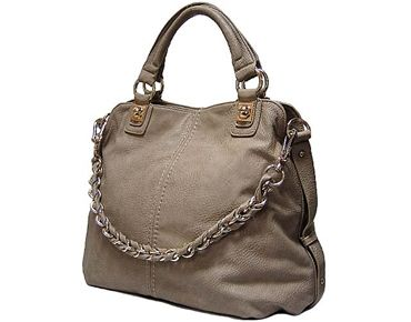 SOFT TAUPE GREY LEATHER EFFECT SLOUCHY TOTE HANDBAG WITH CHAIN LINKED