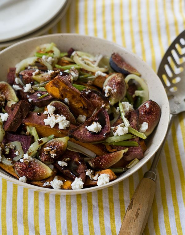 "Roasted Sweet Potato and Fresh Fig Salad ~ via this blog, ""A Cozy ..."