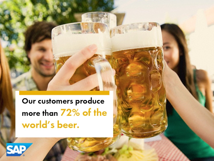 SAP Customers produce more than 72% of the World's annual beer supply.