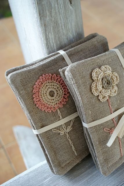 Linen coasters by SandraStJu, via Flickr