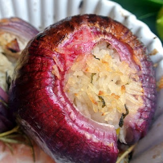 Roasted Stuffed Red Onions (Idea: substitute quinoa for the rice)