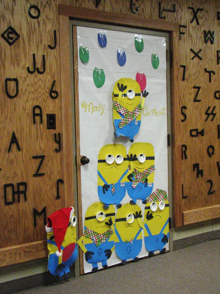 A Minion Christmas Door Decoration Pinterest