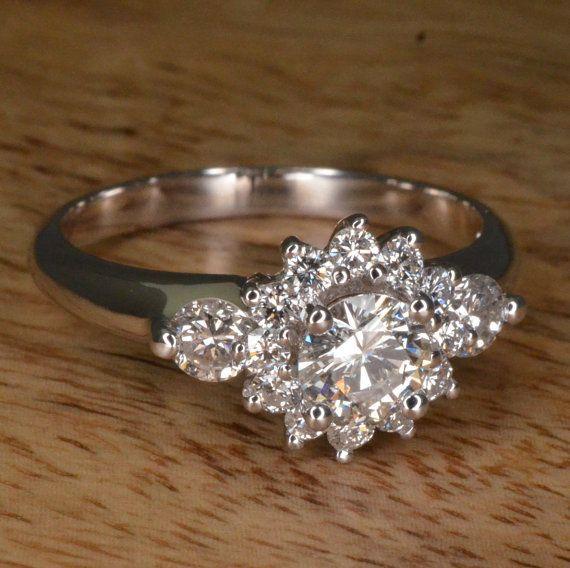 Handmade Art Deco Diamond Flower Engagement Ring 14k White Gold