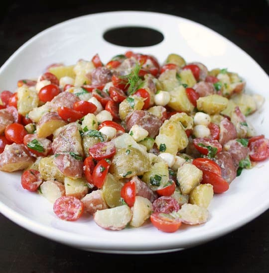 tomato mozzarella potato salad with lemon buttermilk dressing