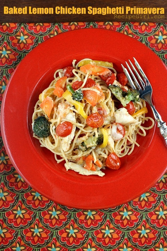 Baked Lemon Chicken Spaghetti Primavera - a healthy pasta recipe to ...