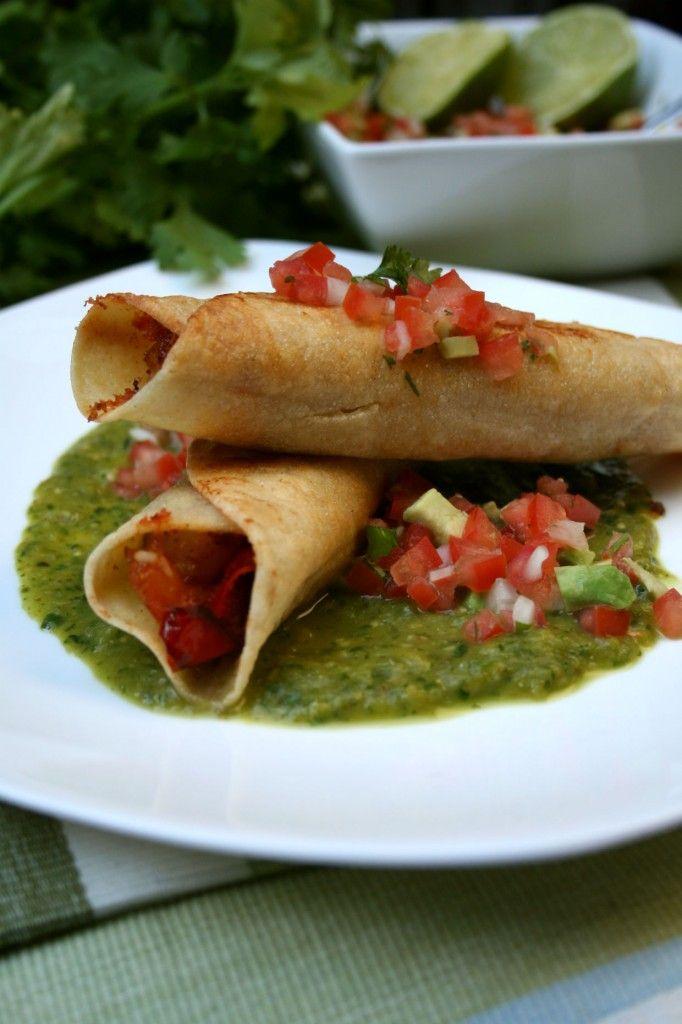 Shrimp Flautas with Roasted Tomatillo Salsa | Recipe
