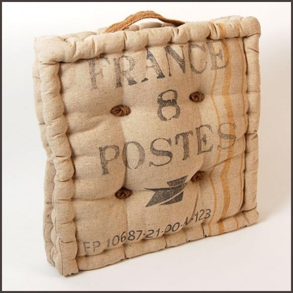 France poste seat cushion 14 x 14 x 3 natural burlap 29 99