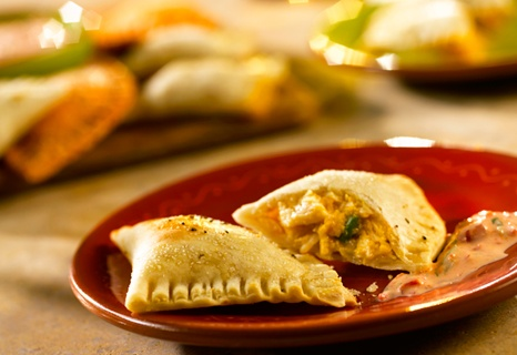 End-Zone Empanadas with Roasted Red Pepper-Poblano Dip | Recipe