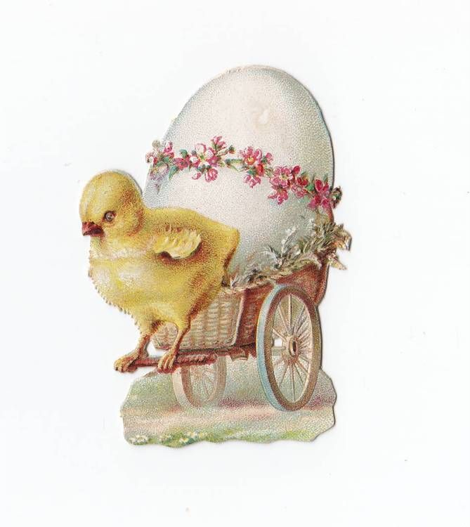 Victorian Die Cut Easter Egg Chick Cart Antique Scrap