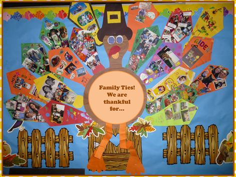 Thankful turkey family ties bulletin boards pinterest for Family display board ideas
