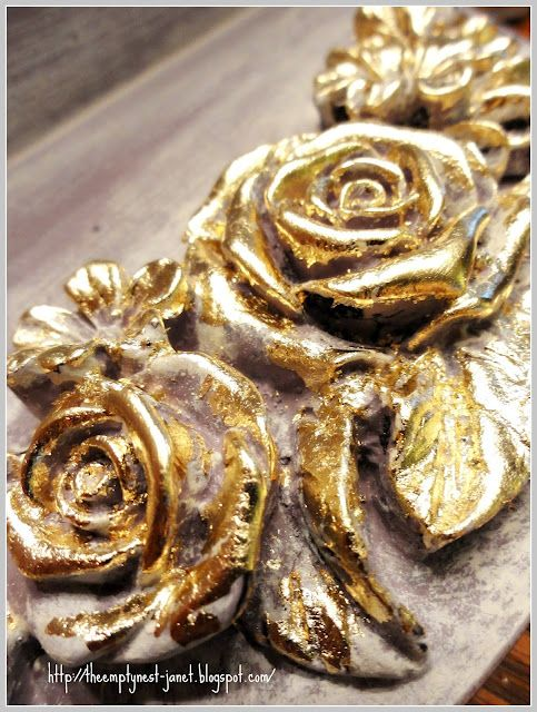 gold leafing over Chalk Paint® decorative paint by Annie Sloan,  Emile and Old White...divine!
