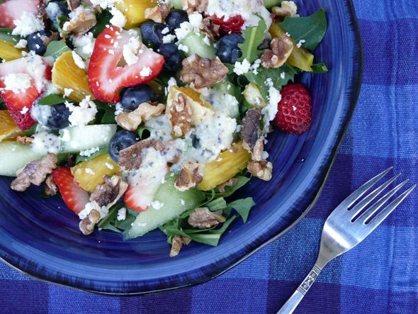 Fruit Salad with Walnuts & Feta on Wild Greens with a Honey Citrus ...