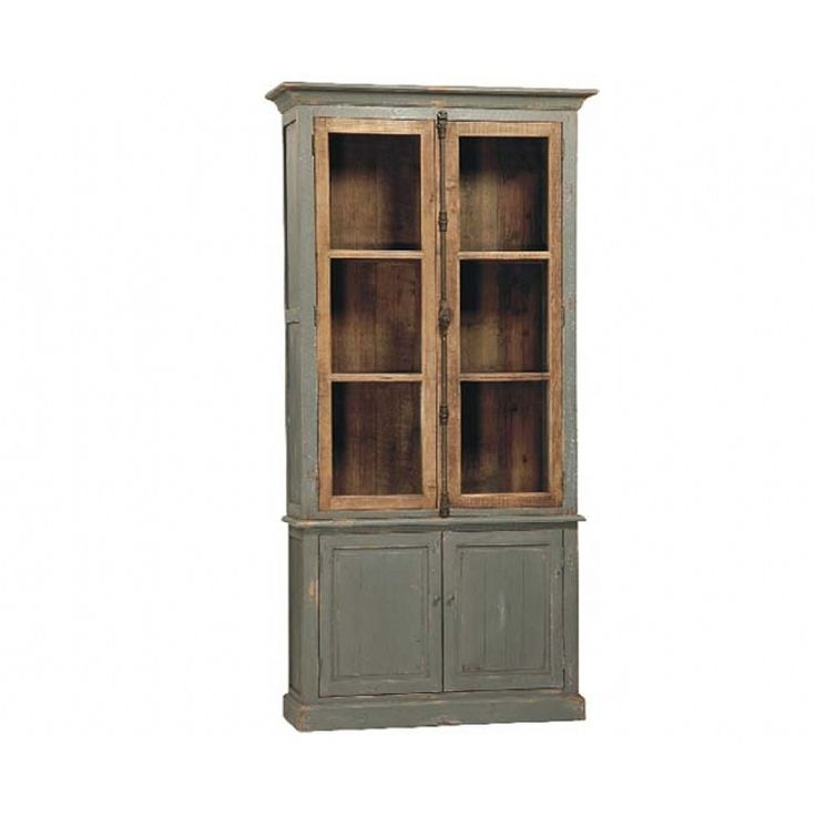 Trenton painted distressed wood cabinet with glass panel doors for Wood doors on painted cabinets