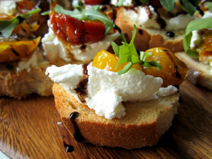 Cherry Tomato and Ricotta Crostini ~ Stacey Snacks