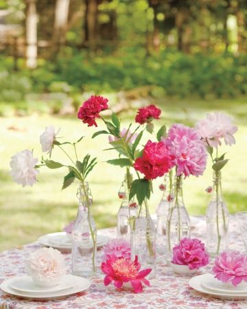 amazing light pink, flower and hot pink peonies in bottles