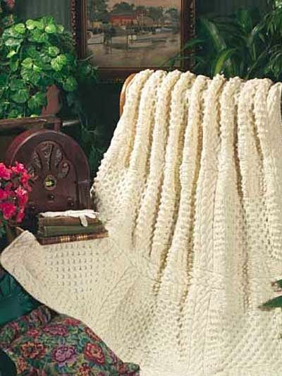 Aran Afghan Knitting Patterns : Free Knit Pattern: Aran Afghan String Crafties Pinterest