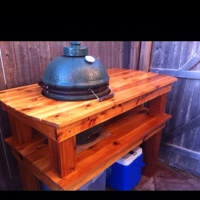 big green egg in our outdoor kitchen