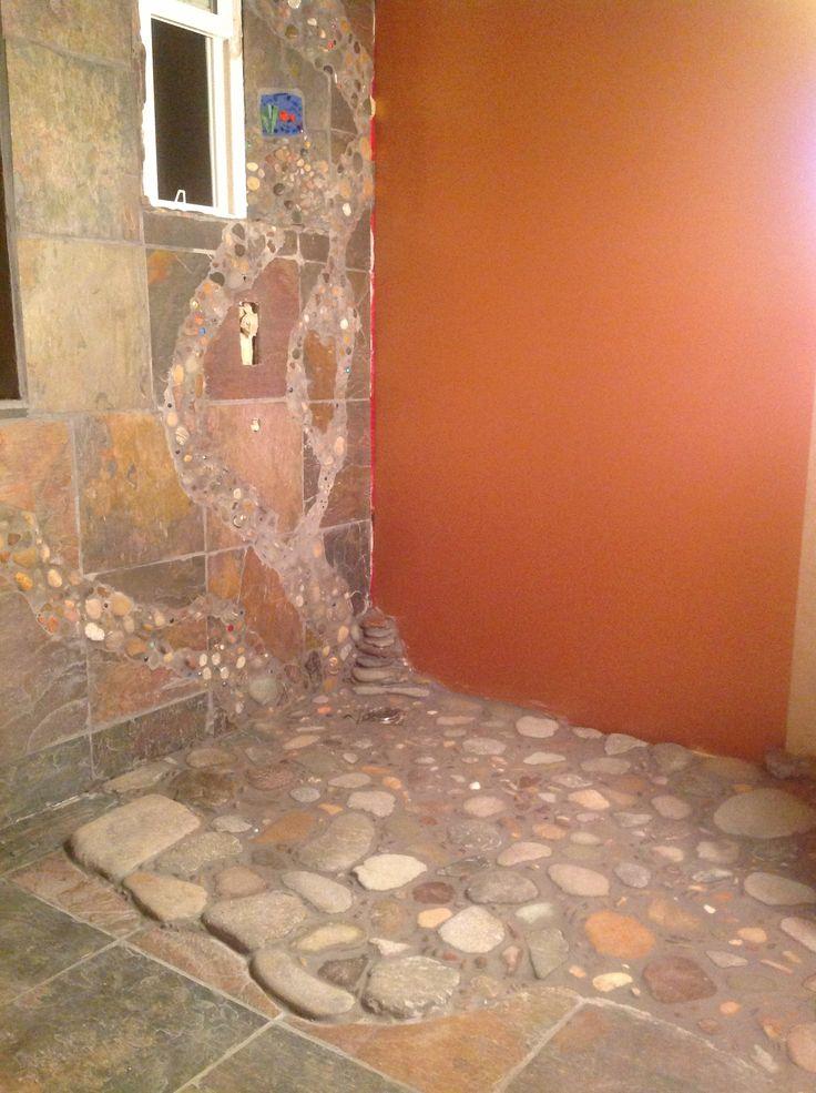 River rock shower floor bathroom pinterest for River rock bathroom ideas