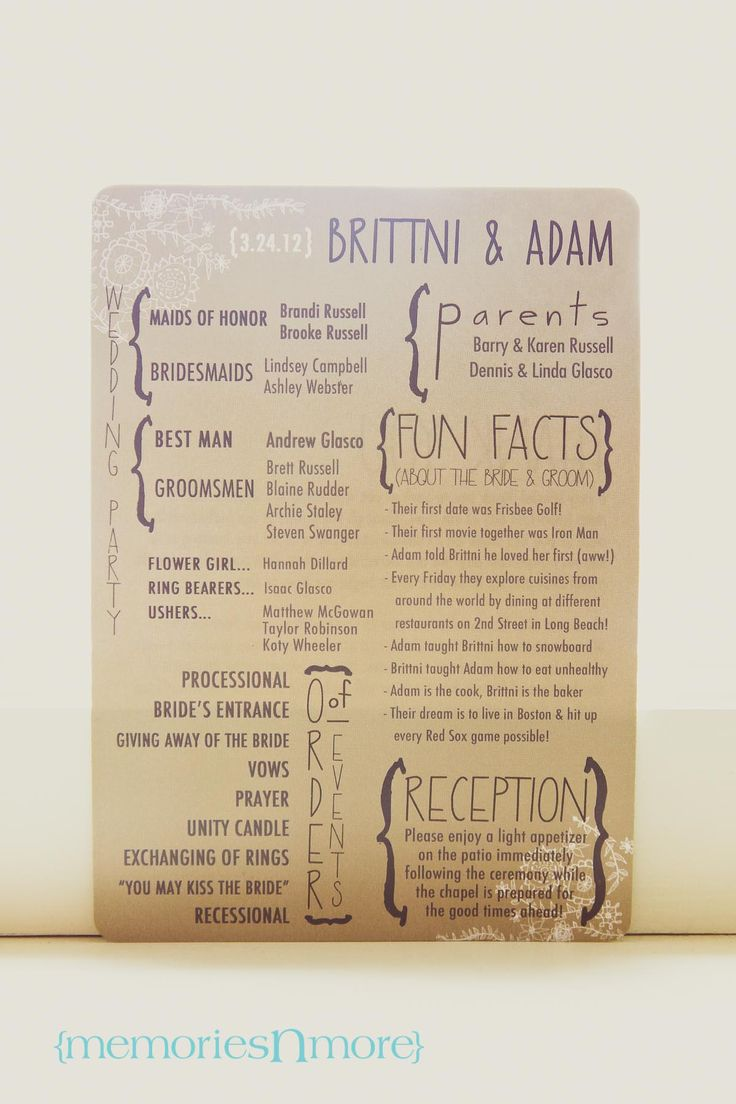 I loved this wedding program by http://annamichellecards.wordpress.com/contact/!  Such a cute idea with fun facts about the couple.