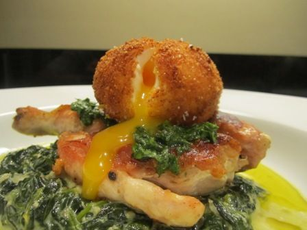 Cornish Game Hen with Creamed Spinach & Deep-Fried Runny Egg Monday ...