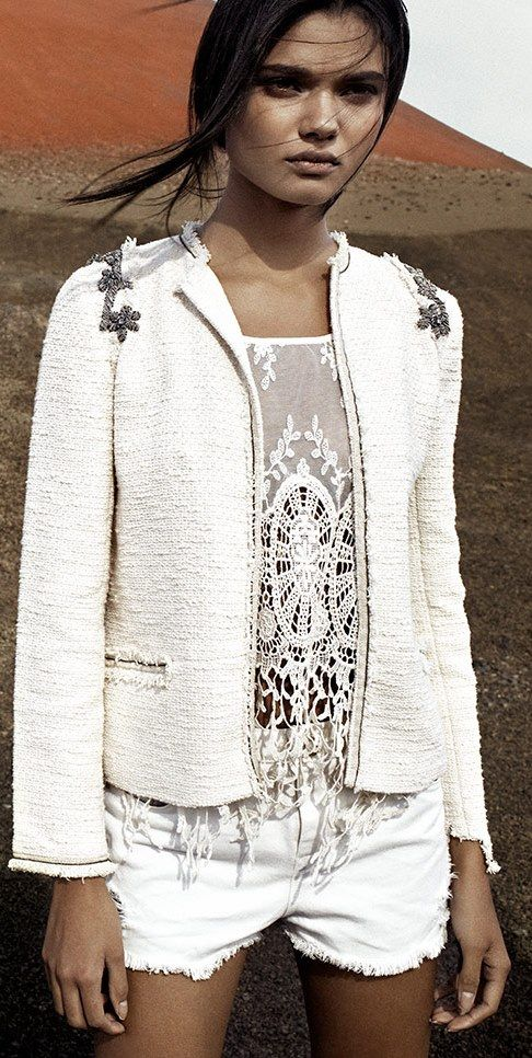 Pull & Bear 2013 white lace top and great jacket.