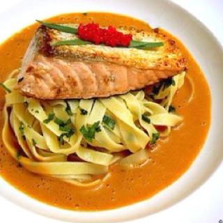 Salmon, estragon tagliatelle, spinach & orange zest lobster bisque.