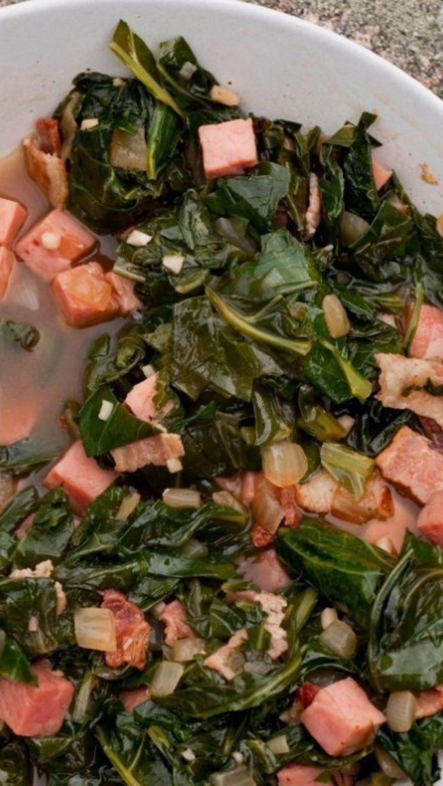 Collard Greens With Ham And Bacon Recipe | Fifty Shades of Bacon | Pi ...