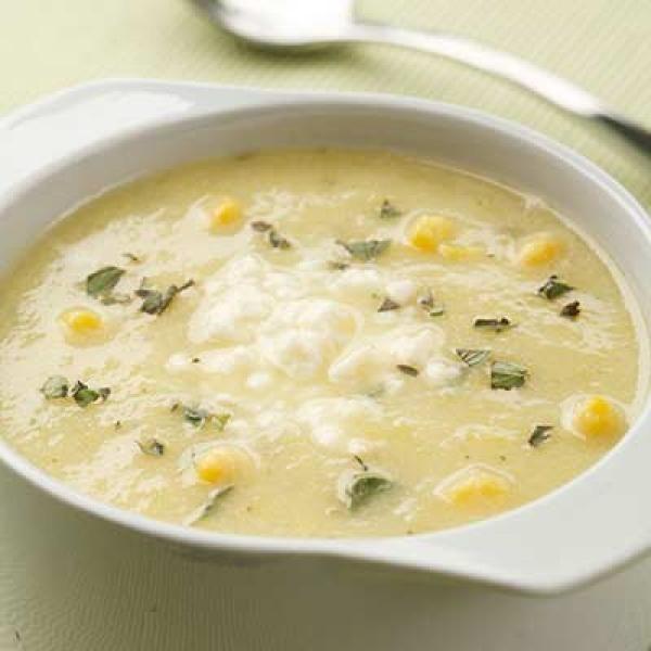 Golden Summer Squash & Corn Soup | KitchenDaily.com