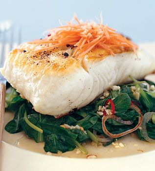 Grilled Halibut with Spinach and Spicy Thai Chiles - added herbed rice ...