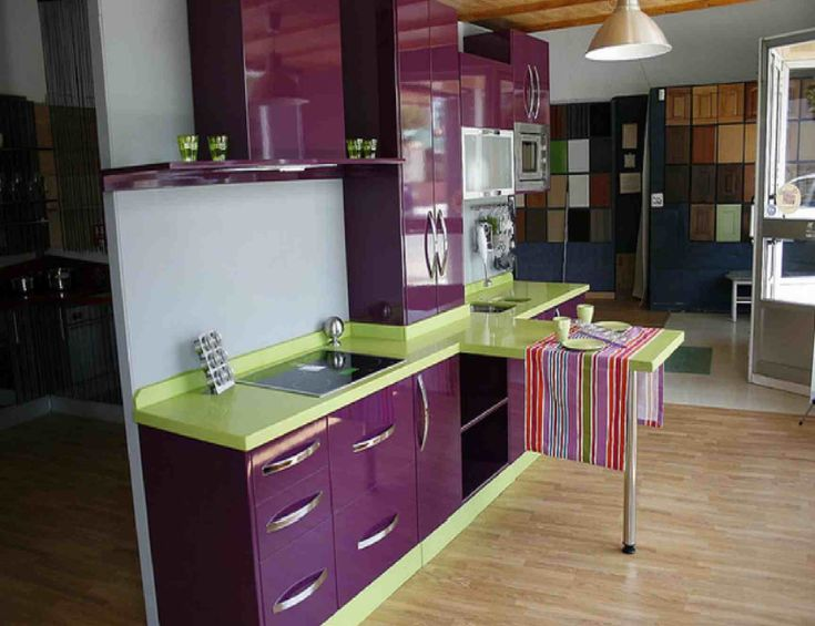 Purple Kitchen With Lime Counters Bilo Bi Lijepo