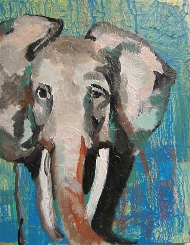 Study of elephant part ii by colette wirz nauke acrylic painting