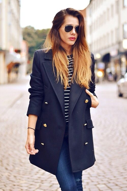 Stripes tee,jeans and long stylish coat