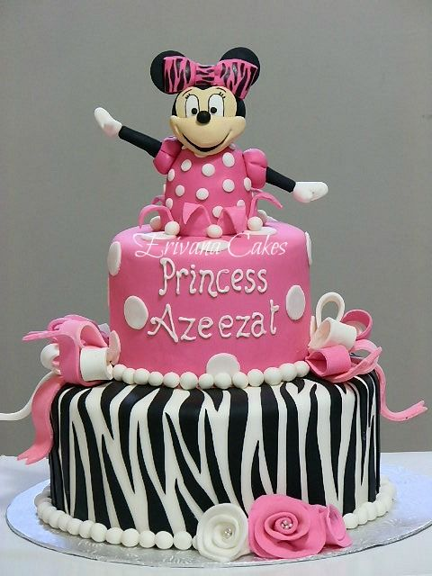 Minnie Mouse zebra cake...PrincessPiggles 1st Birthday & her Minnie ...