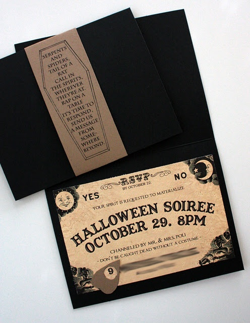 """Serpents and Spiders, tail of a rat..."" Ouiji Board party invite with Madame Leota quote."