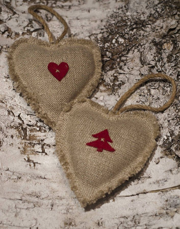christmas linen heart decoration by belle & thistle ...