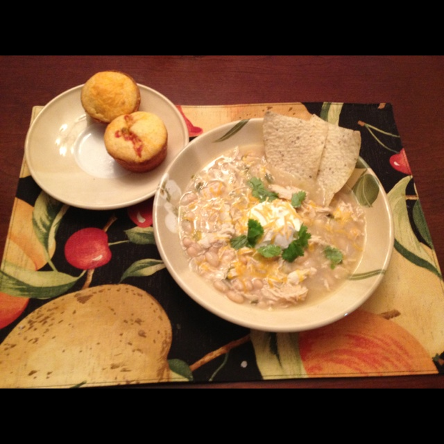 White chili with cheddar salsa corn muffins 2 cabs northern beans 4 ...
