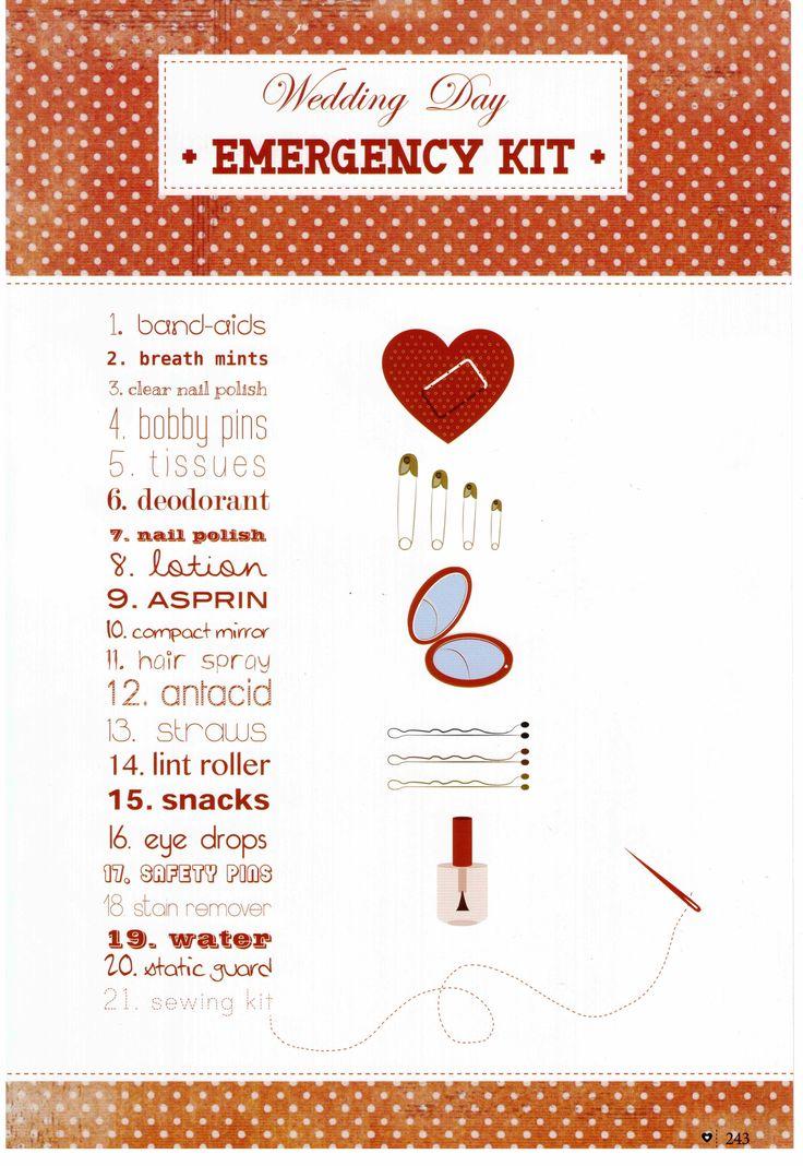 Emergency wedding day checklist