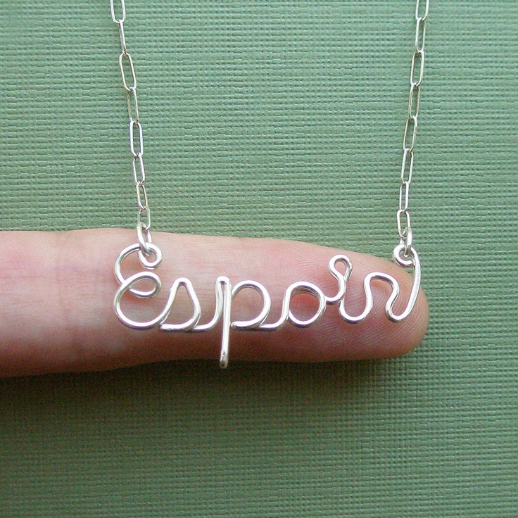 Espoir necklace (hope in French) - sterling silver wire word. $36.00, via Etsy.