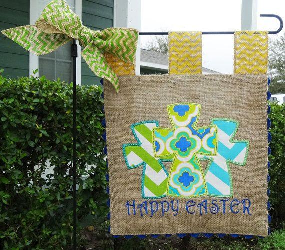 Burlap Garden Flag Easter Crosses Embroidery Applique