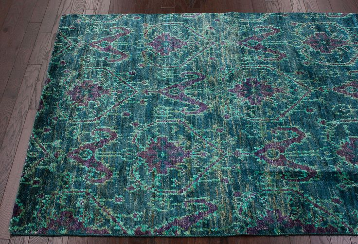 Teal and purple rug