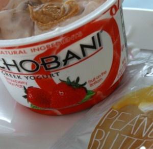 Strawberry greek yogurt + peanut butter= PB&J yogurt!