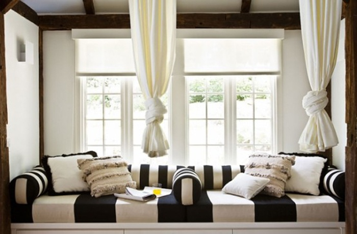 Black and white striped sofa soft slick monochrome home for Alexandra decoration