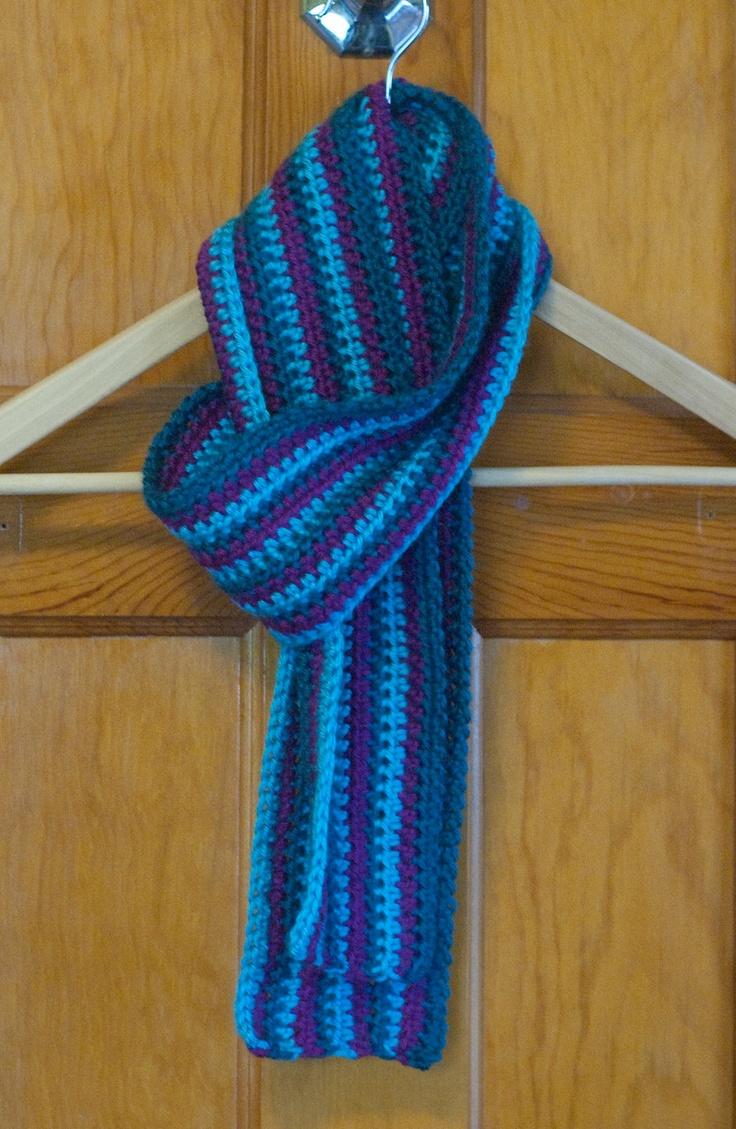 Crochet Scarf Pattern Vertical Stripes : Crocheted Teal & Purple Striped Scarf Scarf Crochet ...