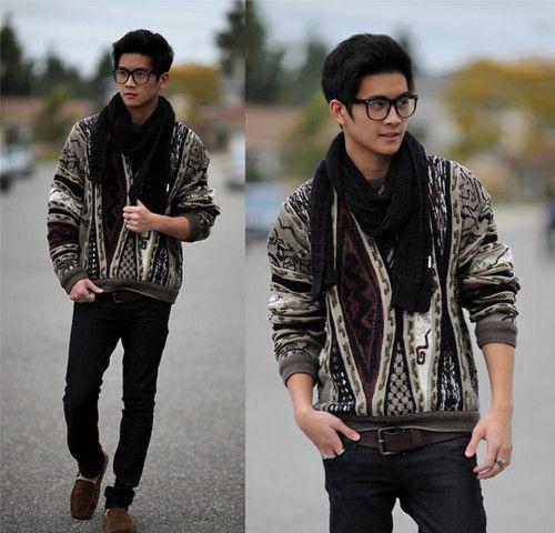 Cool ass hipster jumper; some kind of loafer; glasses.