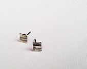 Square Sterling Silver Stud Earrings, Birches Post Earrings, Oxidized Textured Silver