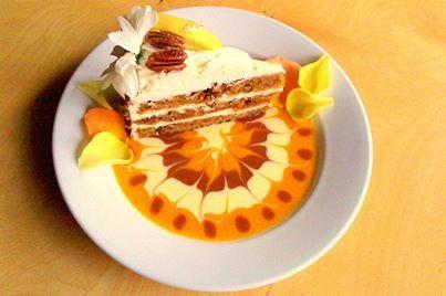 ... Flourless Pumpkin Apple Pecan Torte served with Dulce de Leche ice