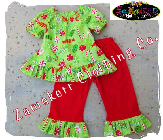 Christmas Girl Outfit Clothing Custom Boutique Clothes Red Peasant Top Ruffle Pant Set 3 6 9 12 18 24 month size 2T 2 3T 3 4T 4 5T 5 6 7 8. $44.99, via Etsy.