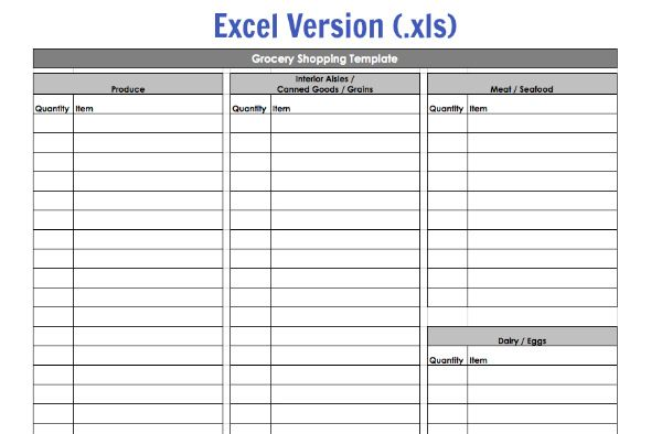 grocery list template excel .